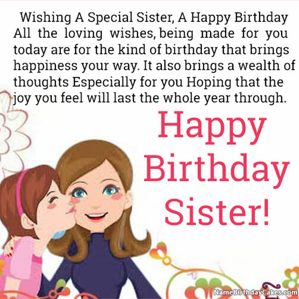 Happy Birthday Wishes For Sister With Name And Photo