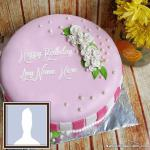 Rose Pink Bday Cake for Friends With Name