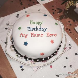 Awesome White Chocolate Cake For Friends Birthday With Name