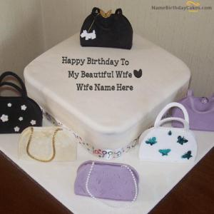 Bags Birthday Cake For Wife With Name