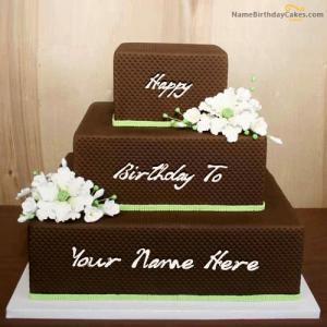 Chocolate Shaped Birthday Cake With Name