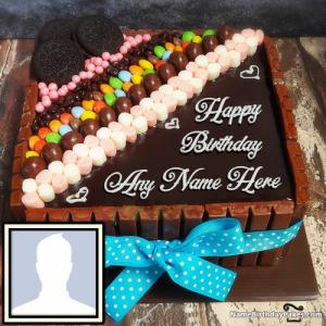Happy Birthday Chocolate Cake With Name And Photo
