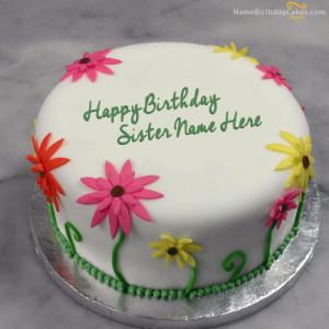 Lovely Birthday Cake For Sister With Name
