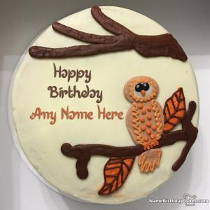 Owl Happy Birthday Cake For Kids With Name