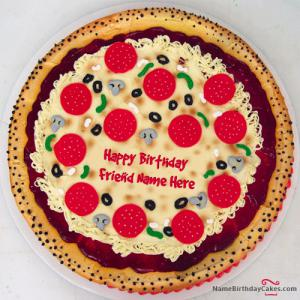 Pizza Shape Birthday Cake With Name