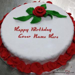 Red Rose Birthday Cake For Lover With Name