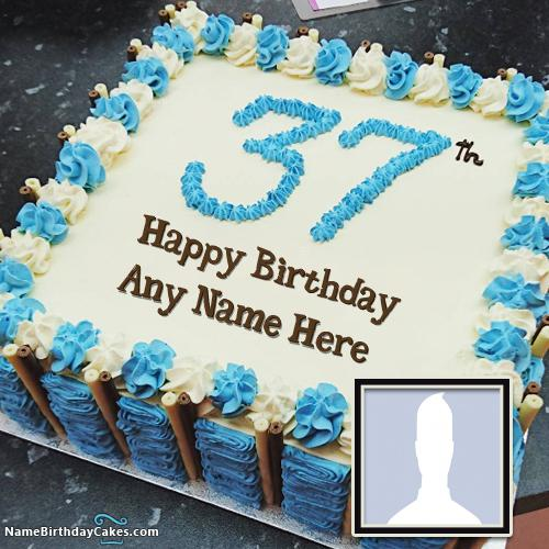 37th Age Birthday Cake With Name And Photo Online Editor & Photo