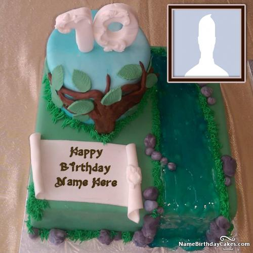 70th Birthday Cakes With Name And Photo