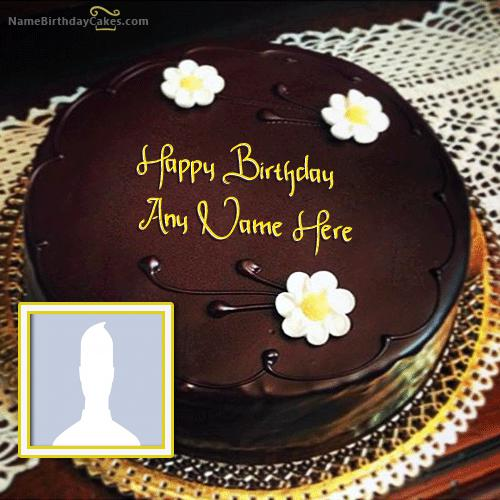 Amazing Chocolate Birthday Cake With Name & Photo