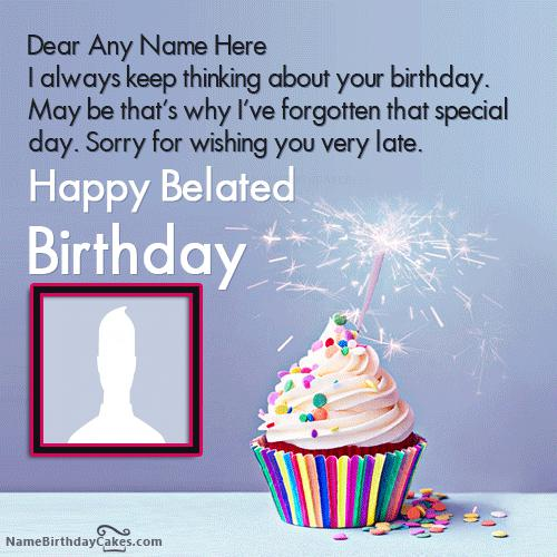 Amazing Cupcake Belated Birthday Wishes With Name & Photo