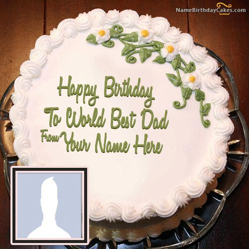 Beaututiful Birthday Cake For Father With Name & Photo