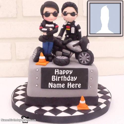 Bikers Happy Birthday Cakes For Boys With Name & Photo