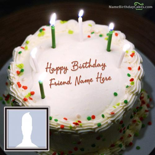 Birthday Cake With Candles With Name & Photo