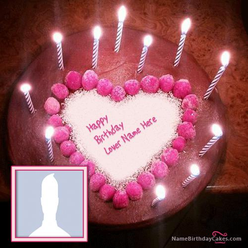Candles Heart Happy Birthday Cake With Name & Photo