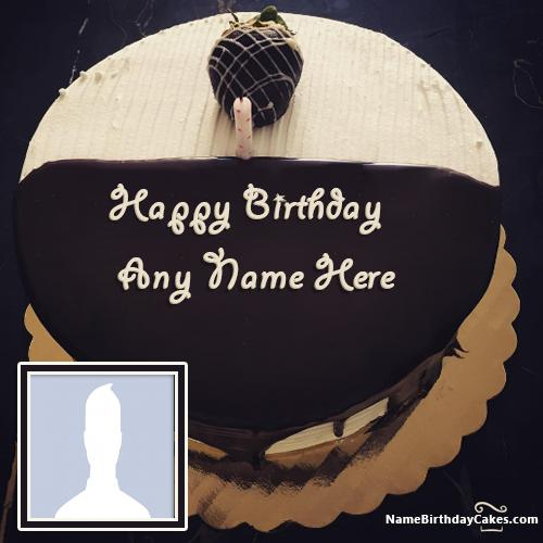 Chocolate Coated Ice Cream Cake For Brother Birthday With Name & Photo