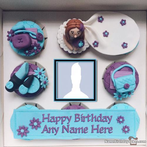 Cupcake Girls Wish Birthday With Name And Photo