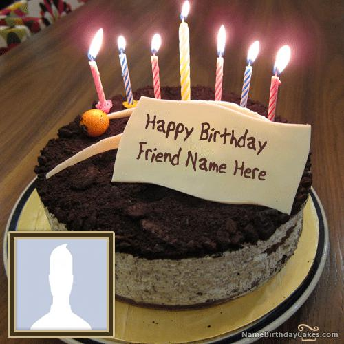 Cute Birthday Cake For Friends With Name & Photo