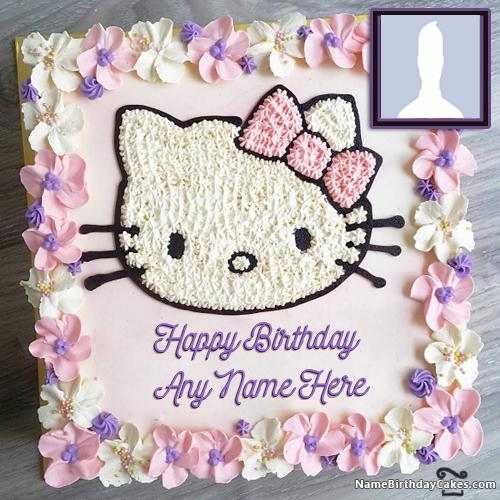 Cute Kitty Birthday Cakes For Kids With Name & Photo