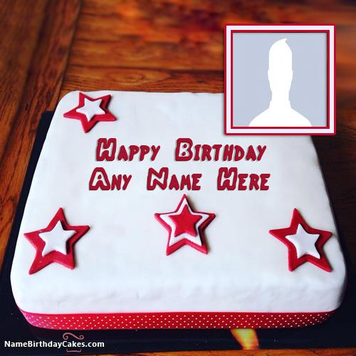 Decorated Fondant Cake For Boys Birthday Wish With Name & Photo