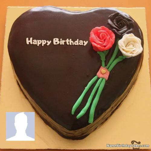 Flower Birthday Cakes For Facebook Friends With Name & Photo