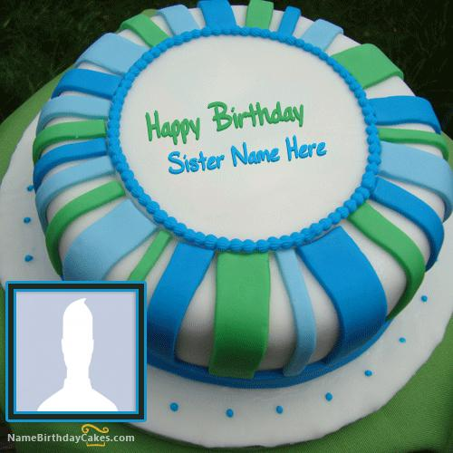 Fondant Birthday Cake For Sister With Name & Photo