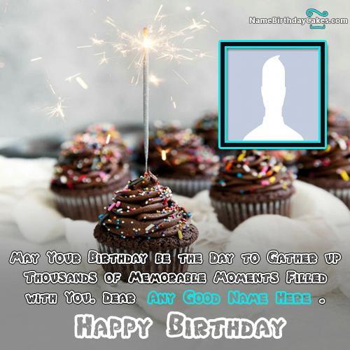 Glitter Cupcake Candle Happy Birthday Wish For Sister With Name & Photo
