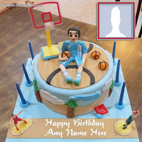 Happy Birthday Cake For Basketballer With Name & Photo