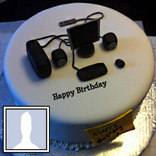 Happy Birthday Cake For IT Person With Name & Photo