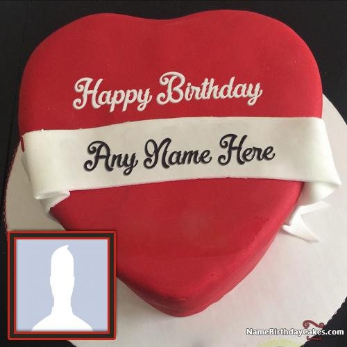 Heart Red Velvet Cake For Lover Birthday Wish With Name & Photo