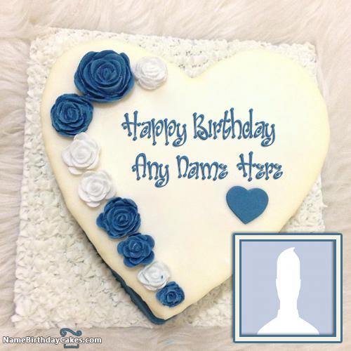 Heart Shape Banana Cake For Birthday Wishes With Name & Photo