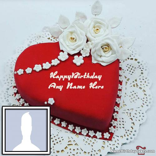 Heart Shaped Birthday Cake For Lover With Name & Photo