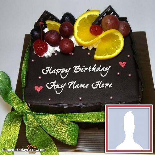 Homemade Chocolate Lemon Cake For Friends Birthday Wish With Name & Photo