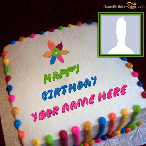 Colorful Birthday Cake With Name & Photo