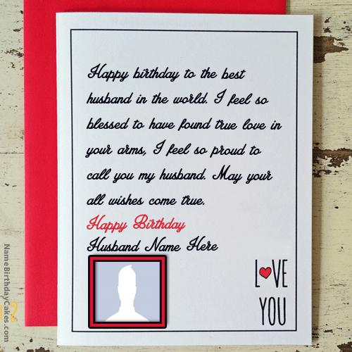 Love Birthday Card for Husband With Name & Photo