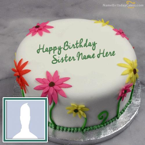Lovely Birthday Cake For Sister With Name & Photo