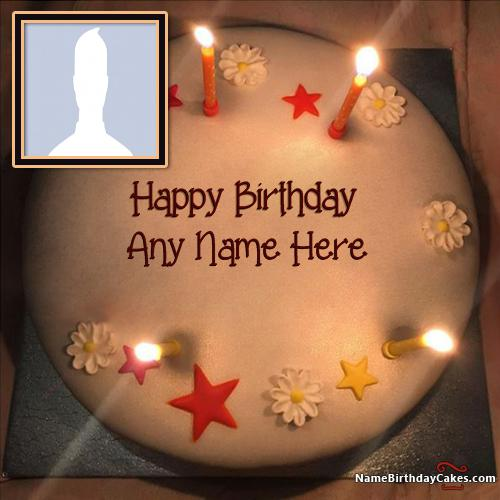New Arrival Butter Candles Birthday Cake For Friends With Name & Photo