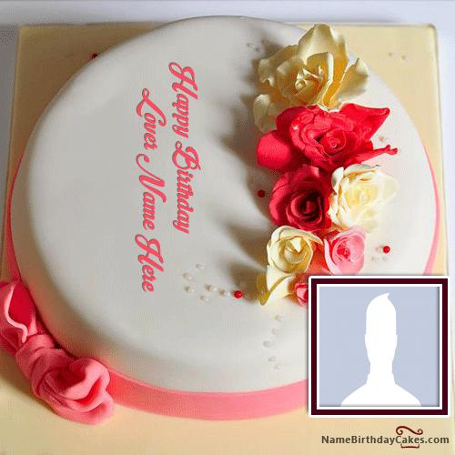 Plain Roses Birthday Cake For Lover With Name & Photo