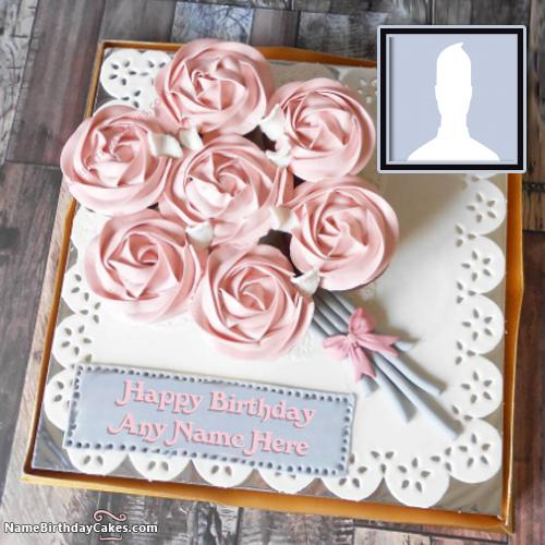 Romantic Birthday Cake For Wife With Name And Photo
