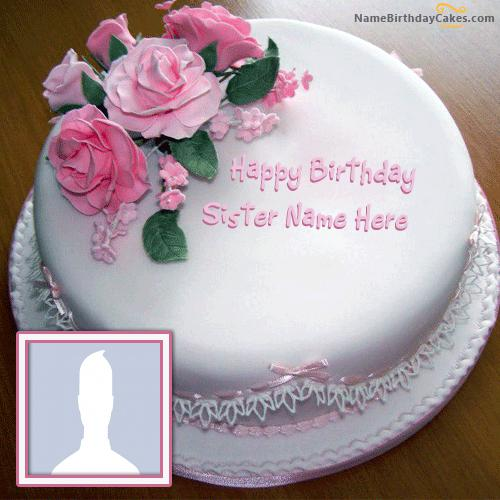 Birthday Cake Pic With Name Nisha : Rose Birthday Cake For Sister With Name