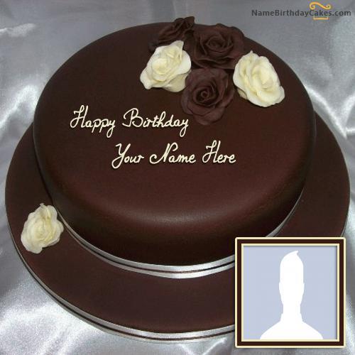 Rose Chocolate Birthday Cake With Name & Photo