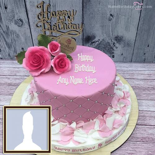 Rose Petals Birthday Cake With Name & Photo