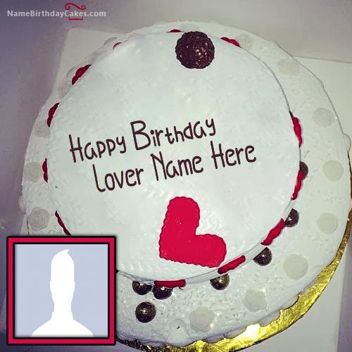 Round Happy Birthday Cake For Lover