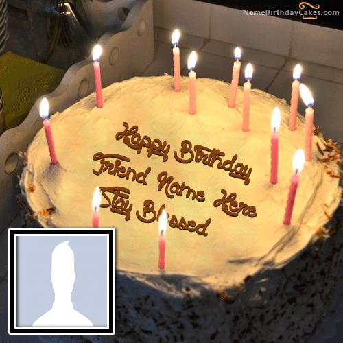 Special Candles Birthday Cake With Name & Photo