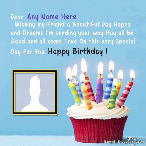 Special Candles Cupcake For Happy Birthday Wish With Name & Photo