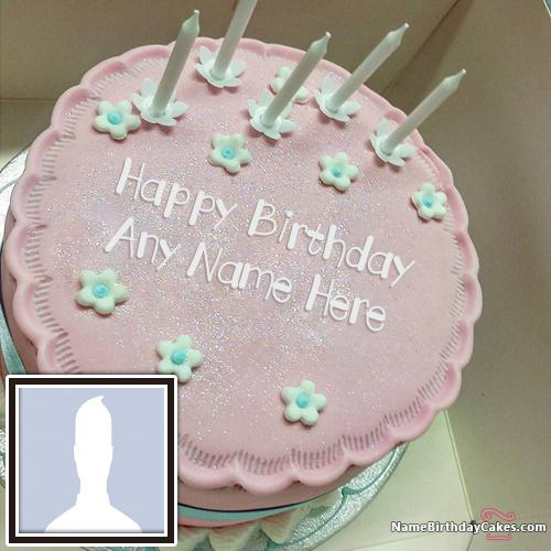 Special Pink Cake Candles For Friend Birthday With Name & Photo
