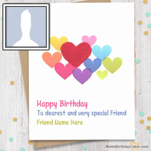 Sweet Birthday Card For Friends With Name & Photo