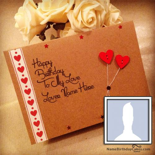 Sweet Birthday Card For Lover With Name & Photo