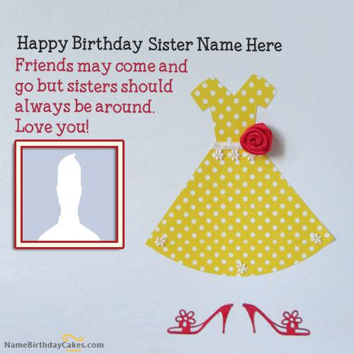 Sweet Sister Birthday Card With Name & Photo