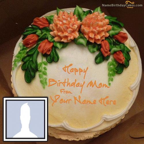 Vanilla Birthday Cake For Mother With Name & Photo