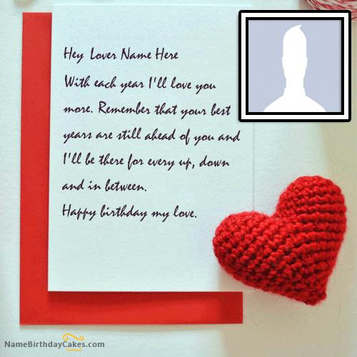 Wish Birthday Card for Lover With Name & Photo